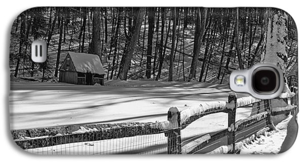 Winter Road Scenes Galaxy S4 Cases - Winter Hut in Black and White Galaxy S4 Case by Paul Ward