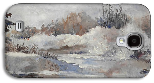 Snow Scene Paintings Galaxy S4 Cases - Winter Impressions Galaxy S4 Case by Suzanne Schaefer