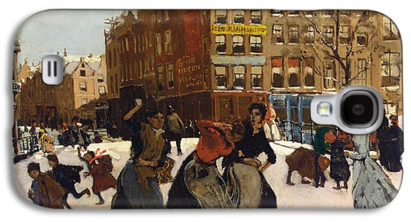 Winter Fun Paintings Galaxy S4 Cases - Winter in Amsterdam Galaxy S4 Case by Georg Hendrik Breitner