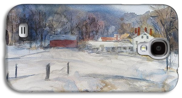 New England Snow Scene Paintings Galaxy S4 Cases - Winter in New England  Galaxy S4 Case by Heidi Brantley