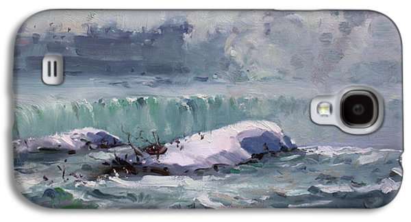 Waterscape Paintings Galaxy S4 Cases - Winter in Niagara Waterfalls Galaxy S4 Case by Ylli Haruni