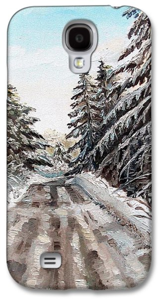 Maine Roads Paintings Galaxy S4 Cases - Winter in the Boons Galaxy S4 Case by Shana Rowe