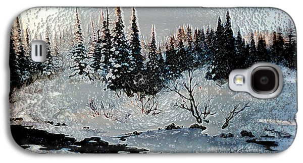 Snow-covered Landscape Digital Art Galaxy S4 Cases - Winter Lake Sunset Galaxy S4 Case by Hanne Lore Koehler