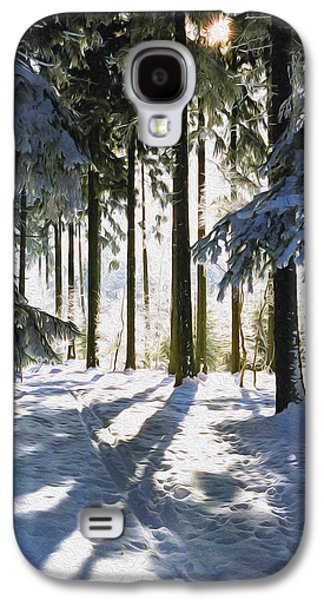 Snowy Digital Art Galaxy S4 Cases - Winter Landscape Galaxy S4 Case by Aged Pixel