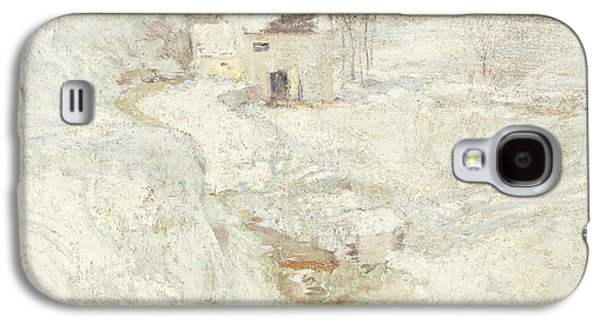 Snowy Day Paintings Galaxy S4 Cases - Winter Landscape Galaxy S4 Case by John Henry Twachtman