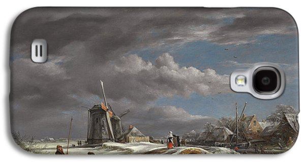 Slush Galaxy S4 Cases - Winter landscape with figures on a path Galaxy S4 Case by John Constable