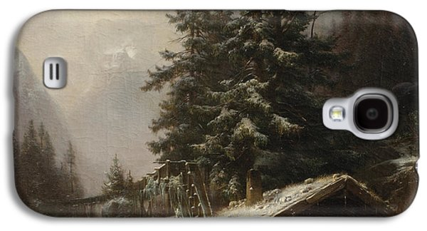 Dog In Landscape Galaxy S4 Cases - Winter landscape with figures resting near a water mill Galaxy S4 Case by Heinrich Hofer