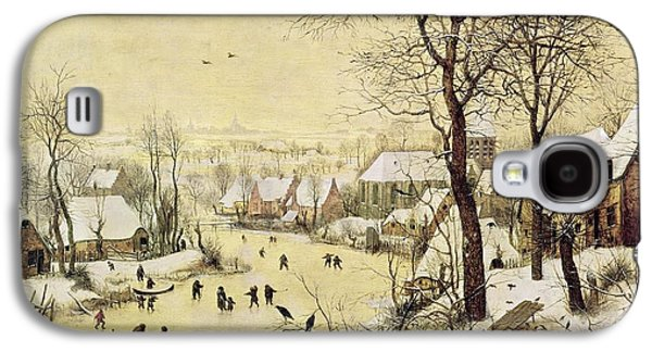 Slush Galaxy S4 Cases - Winter Landscape with Skaters and a Bird Trap Galaxy S4 Case by Pieter Bruegel the Elder