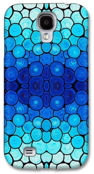 Patterned Mixed Media Galaxy S4 Cases - Winter Lights - Blue Mosaic Art By Sharon Cummings Galaxy S4 Case by Sharon Cummings