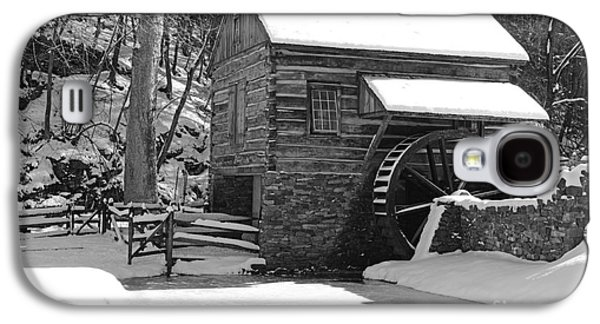 Winter Road Scenes Galaxy S4 Cases - Winter Mill in Black and White Galaxy S4 Case by Paul Ward