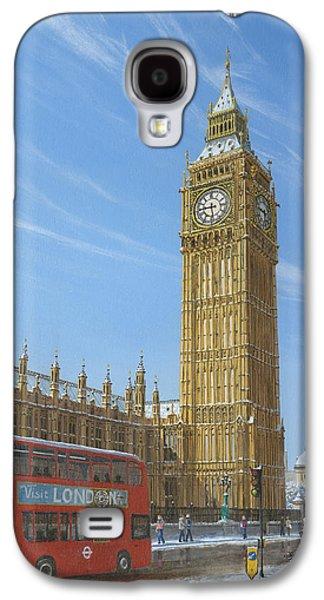 Charles River Paintings Galaxy S4 Cases - Winter Morning Big Ben Elizabeth Tower London Galaxy S4 Case by Richard Harpum