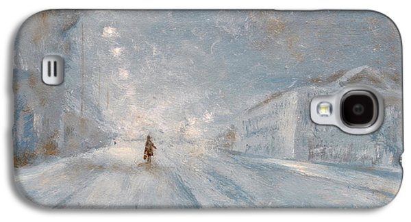 Night Lamp Paintings Galaxy S4 Cases - Winter night Galaxy S4 Case by Martin Capek