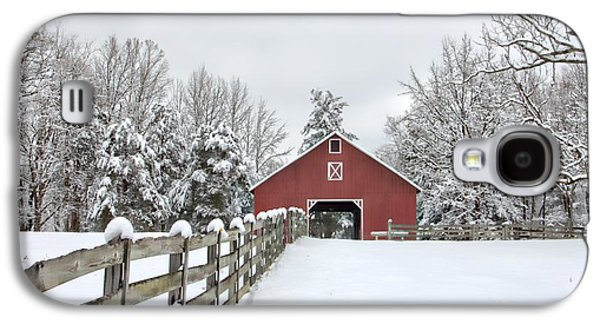 Split Rail Fence Galaxy S4 Cases - Winter on the Farm Galaxy S4 Case by Benanne Stiens