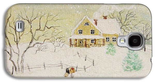 Quiet Time Galaxy S4 Cases - Winter painting of house with mailbox/ digitally altered Galaxy S4 Case by Sandra Cunningham