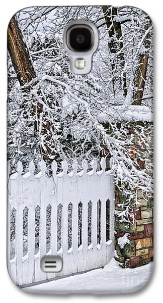Snow-covered Landscape Galaxy S4 Cases - Winter park fence Galaxy S4 Case by Elena Elisseeva