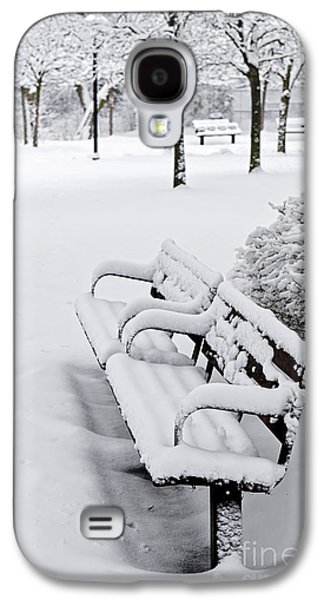 Snow-covered Landscape Galaxy S4 Cases - Winter park with benches Galaxy S4 Case by Elena Elisseeva