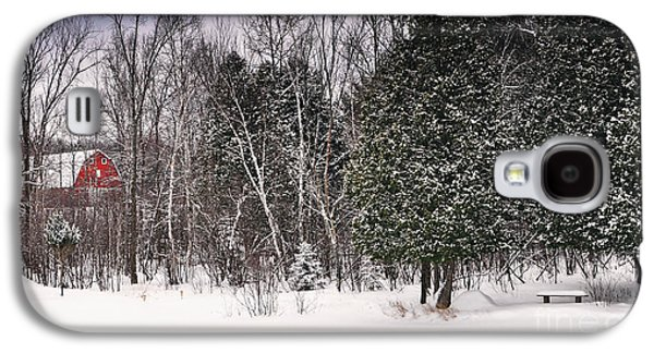 Red Barn In Winter Photographs Galaxy S4 Cases - Winter Postcard Galaxy S4 Case by Gwen Gibson