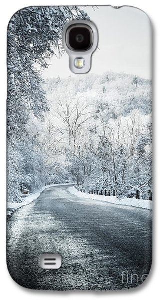 Winter Storm Photographs Galaxy S4 Cases - Winter road in forest Galaxy S4 Case by Elena Elisseeva