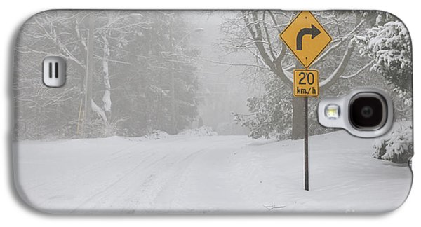 Winter Road With Yellow Sign Galaxy S4 Case by Elena Elisseeva