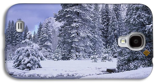 Snow-covered Landscape Galaxy S4 Cases - Winter Road, Yosemite Park, California Galaxy S4 Case by Panoramic Images