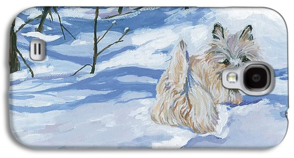 Dogs In Snow. Galaxy S4 Cases - Winter Romp Galaxy S4 Case by Molly Poole