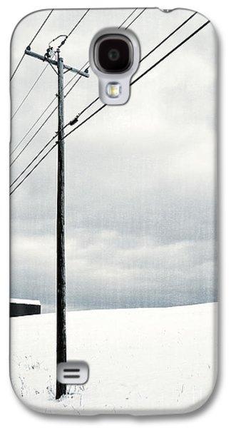 Telephone Poles Galaxy S4 Cases - Winter Rural Scene Galaxy S4 Case by Edward Fielding