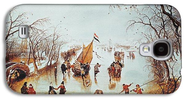 Winter Scene Paintings Galaxy S4 Cases - Winter Scene Galaxy S4 Case by Adriaen Pietersz van de Venne