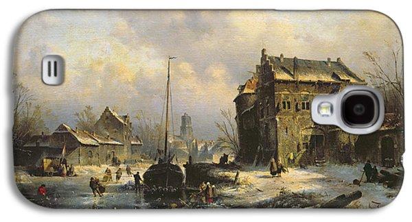 Winter Scene Paintings Galaxy S4 Cases - Winter Scene Galaxy S4 Case by Charles-Henri-Joseph Leickert