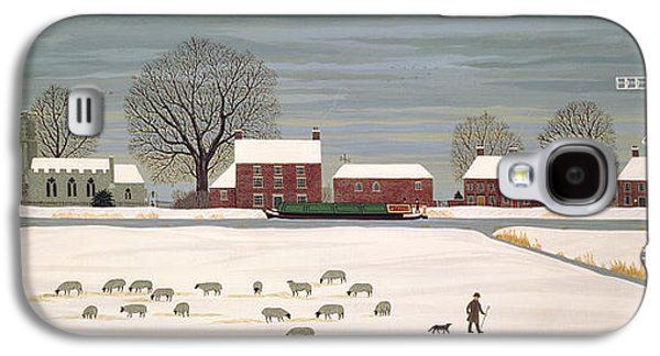 Winter Scene Paintings Galaxy S4 Cases - Winter Scene in Lincolnshire Galaxy S4 Case by Vincent Haddelsey