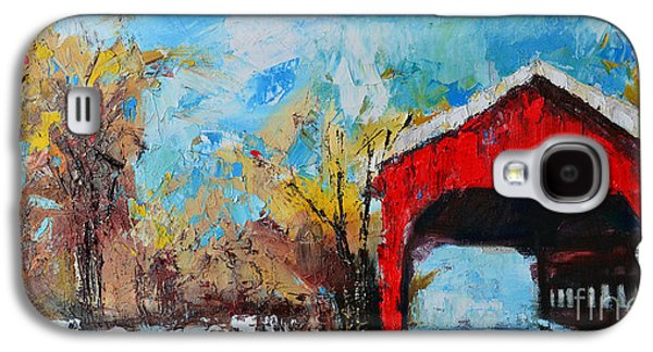 Old Barns Paintings Galaxy S4 Cases - Winter Scene Landscape Galaxy S4 Case by Patricia Awapara