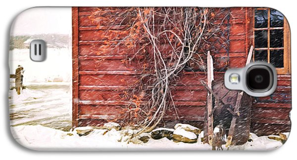 Wintertime Galaxy S4 Cases - Winter scene with barn and wheelbarrow/ Digital Painting  Galaxy S4 Case by Sandra Cunningham