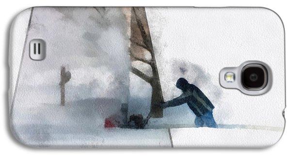 Artist Working Photo Digital Art Galaxy S4 Cases - Winter Snow Blower Photo Art Galaxy S4 Case by Thomas Woolworth