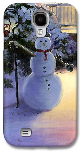 Kinkade Galaxy S4 Cases - Winter Snow Man Galaxy S4 Case by Cecilia  Brendel