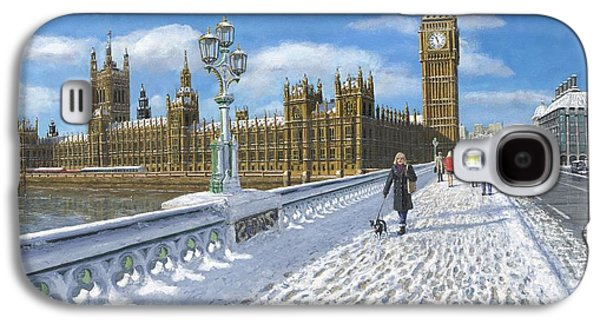 Snow Scene Landscape Paintings Galaxy S4 Cases - Winter Sun - Houses of Parliament London Galaxy S4 Case by Richard Harpum