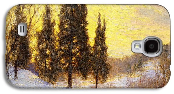 Snow-covered Landscape Galaxy S4 Cases - Winter Sundown Galaxy S4 Case by Walter Launt Palmer