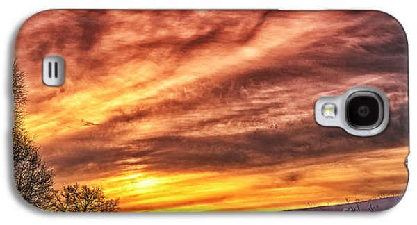 Colorful Cloud Formations Galaxy S4 Cases - Winter Sunrise Drama Galaxy S4 Case by Thomas R Fletcher