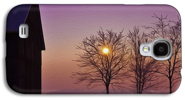 Winter Digital Art Galaxy S4 Cases - Winter Sunset Galaxy S4 Case by Aged Pixel