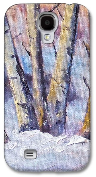 Snow Scene Landscape Paintings Galaxy S4 Cases - Winter Trees Galaxy S4 Case by Nancy Merkle