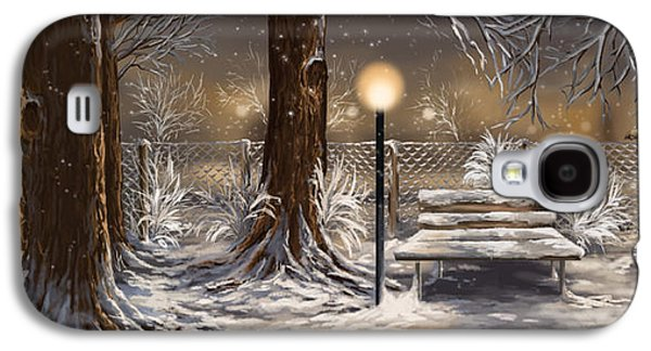 Park Scene Paintings Galaxy S4 Cases - Winter trilogy collage Galaxy S4 Case by Veronica Minozzi