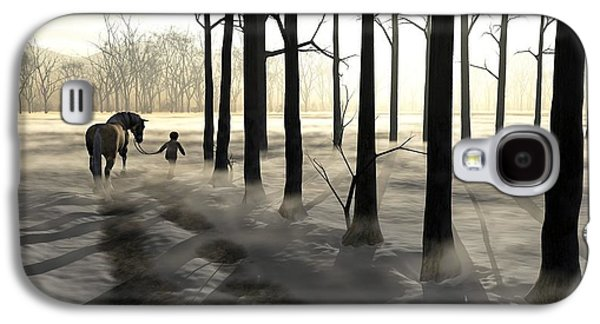 Snowy Digital Art Galaxy S4 Cases - Winter Walk Galaxy S4 Case by Cynthia Decker