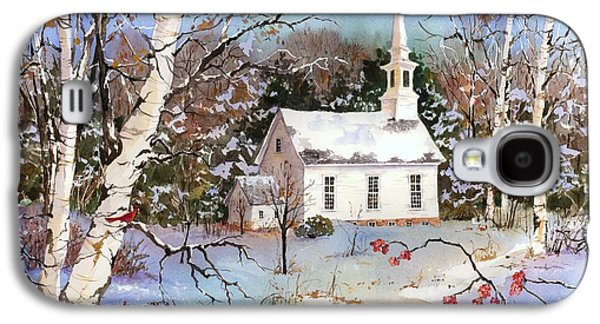 New England Snow Scene Paintings Galaxy S4 Cases - Winterberries Galaxy S4 Case by Sherri Crabtree