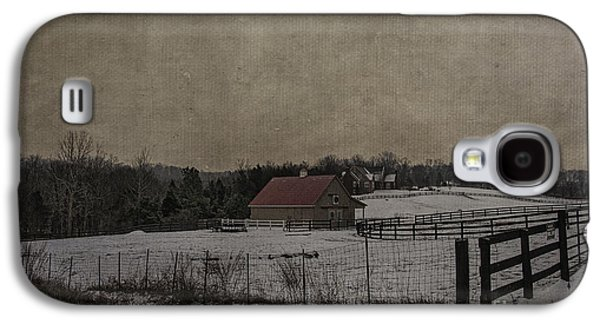 Red Roofed Barn Galaxy S4 Cases - Winters Farm Galaxy S4 Case by Terry Rowe