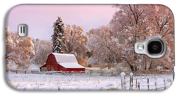 Red Barn In Winter Photographs Galaxy S4 Cases - Winters Glow Galaxy S4 Case by Reflective Moment Photography And Digital Art Images