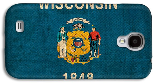 Madison Galaxy S4 Cases - Wisconsin State Flag Art on Worn Canvas Galaxy S4 Case by Design Turnpike