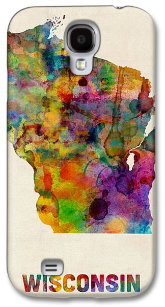 Cartography Digital Art Galaxy S4 Cases - Wisconsin Watercolor Map Galaxy S4 Case by Michael Tompsett