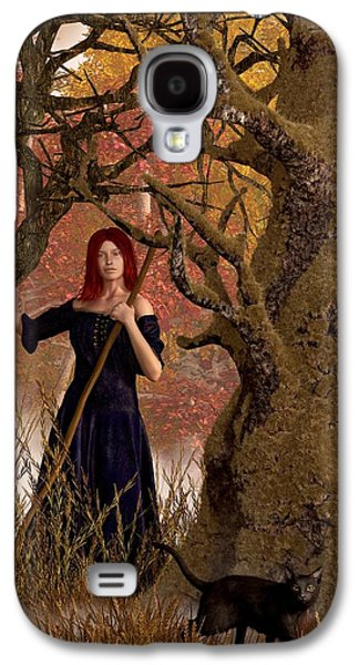 Witch Halloween Cat Wicca Galaxy S4 Cases - Witch of the Autumn Forest  Galaxy S4 Case by Daniel Eskridge