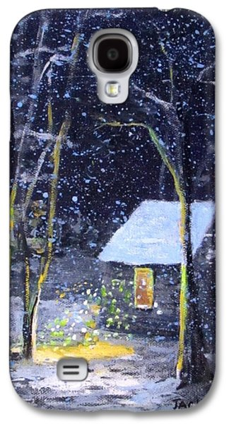 Thoreaus Cabin Paintings Galaxy S4 Cases - Wintery  night at Thoreaus Cove Galaxy S4 Case by Jack Skinner