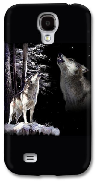 Night Sky Paintings Galaxy S4 Cases - Wolf  howling memory Galaxy S4 Case by Gina Femrite