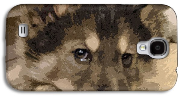 Puppy Digital Galaxy S4 Cases - Wolf Hybrid Pup Galaxy S4 Case by May Finch