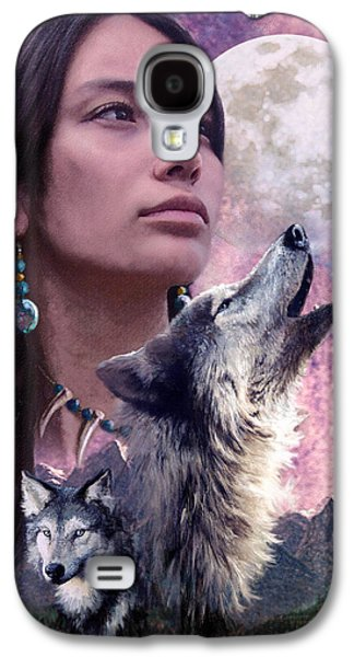 Native American Spirit Portrait Galaxy S4 Cases - Wolf Montage Galaxy S4 Case by Garry Walton